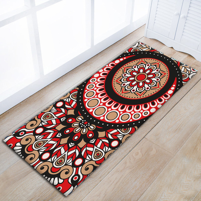 Zeegle Mandala Fl Door Mats Asorbent Kitchen Floor Carpet Non Slip Area Rug For Living