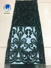 BEAUTIFICAL green lace fabrics latest tulle fabric 2019 french with sequins african quality ML46N05