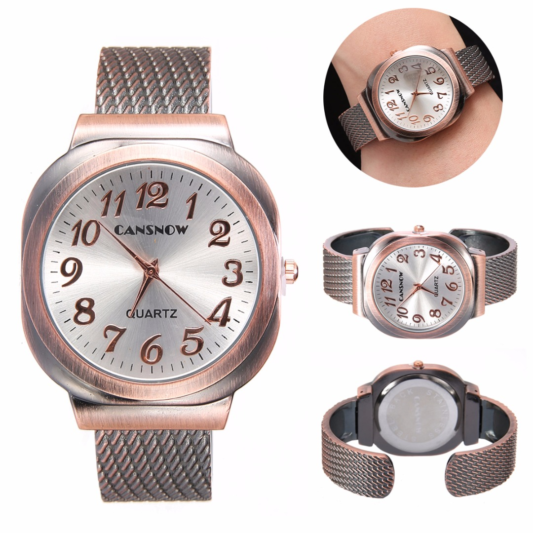 5 Colors Unisex Retro Watch Clock Ladies Stainless Steel Bangle Cuff Bracelet Watches Quartz Wrist Watch Mens Women quartz cuff bangle