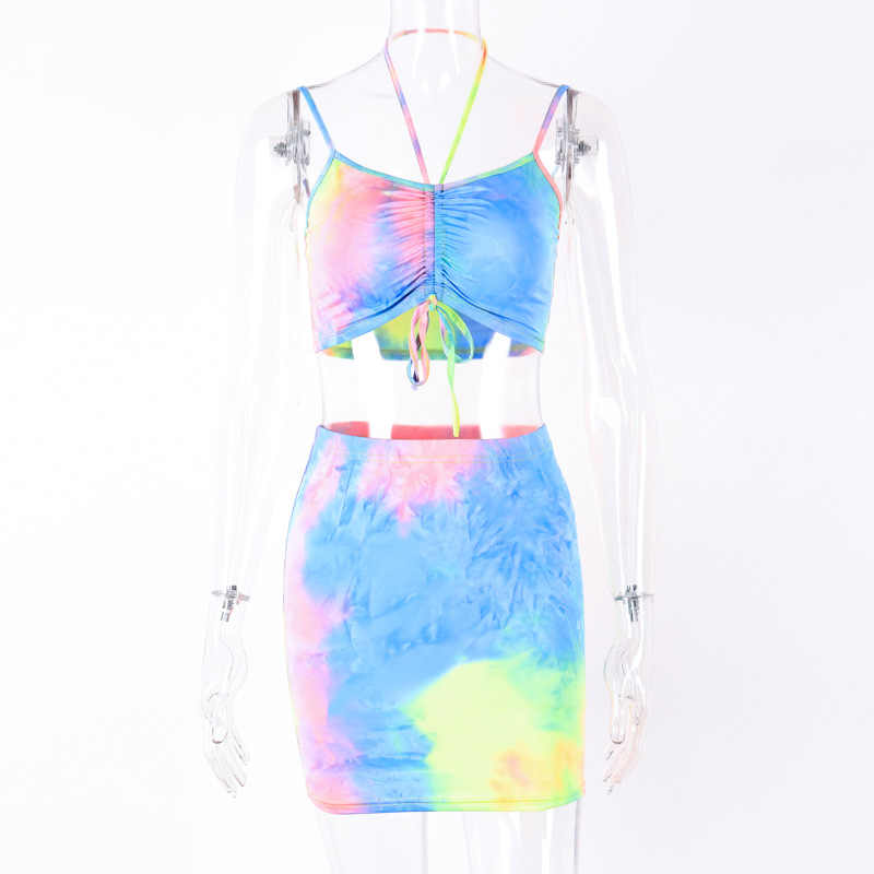 Neon Sportwear Spaghetti Straps Tie Dye Print Sexy Camis Skirt Two 2 Piece Set Summer Women Fashion Party Club Holiday Sets