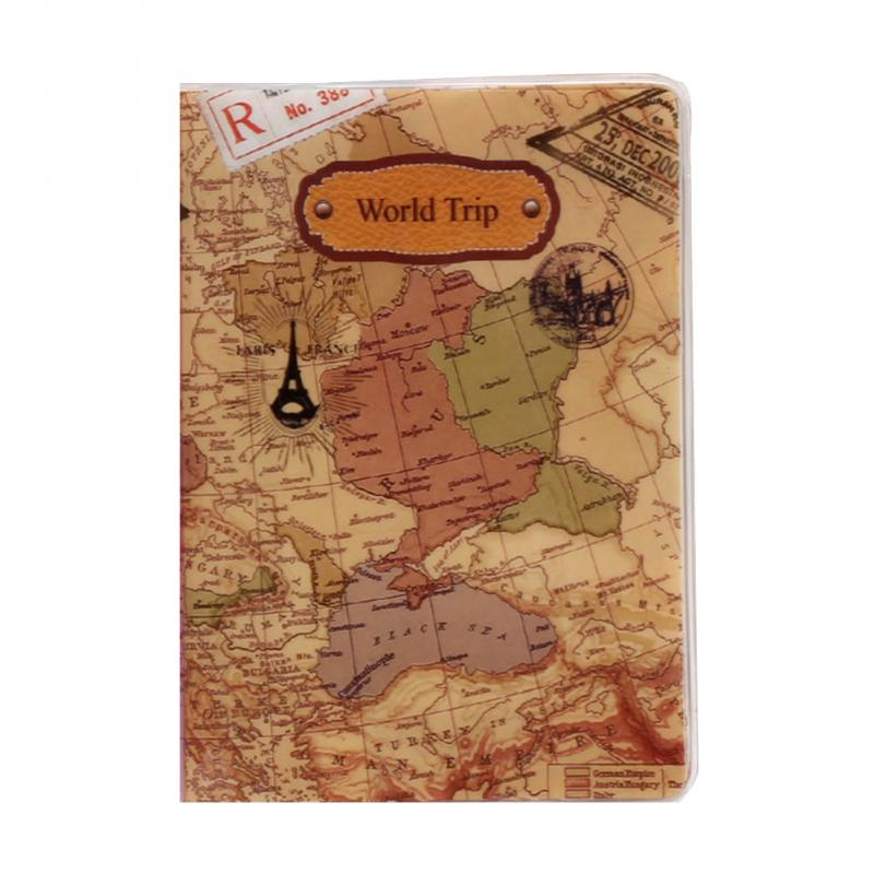 Document-Cover Travel-Card-Case Passport-Holder World-Map PVC Flat-Printing