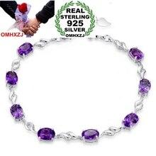 OMHXZJ модный подарок высокое качество геометрический аметист 925 пробы Серебряный Фиолетовый подарок для женщин браслеты SZ32