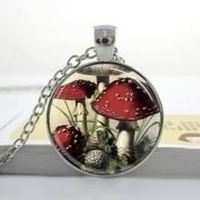 Оптовое ожерелье гриб красного и белого цвета Toadstools, ювелирные изделия, ожерелье с подвеской из натурального леса