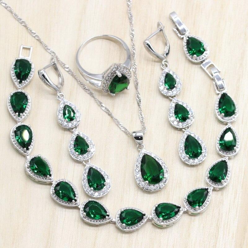 925 Sterling Silver Jewelry Sets Green Cubic Zircon Long Earrings/Pendant/Necklace/Ring Heart Bracelet for women Free Gift Box