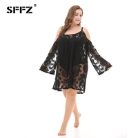 SFFZ 2018 New Summer Women Dress Fashion Plus Size Loose Lace Sexy Dress See through Off Shoulder Beach Womens Dresses Black