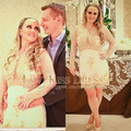 Sexy Vestidos De Noite Scoop Neck See Through Lace Long Sleeve Sheath Cocktail Dress 2015 Party Gown