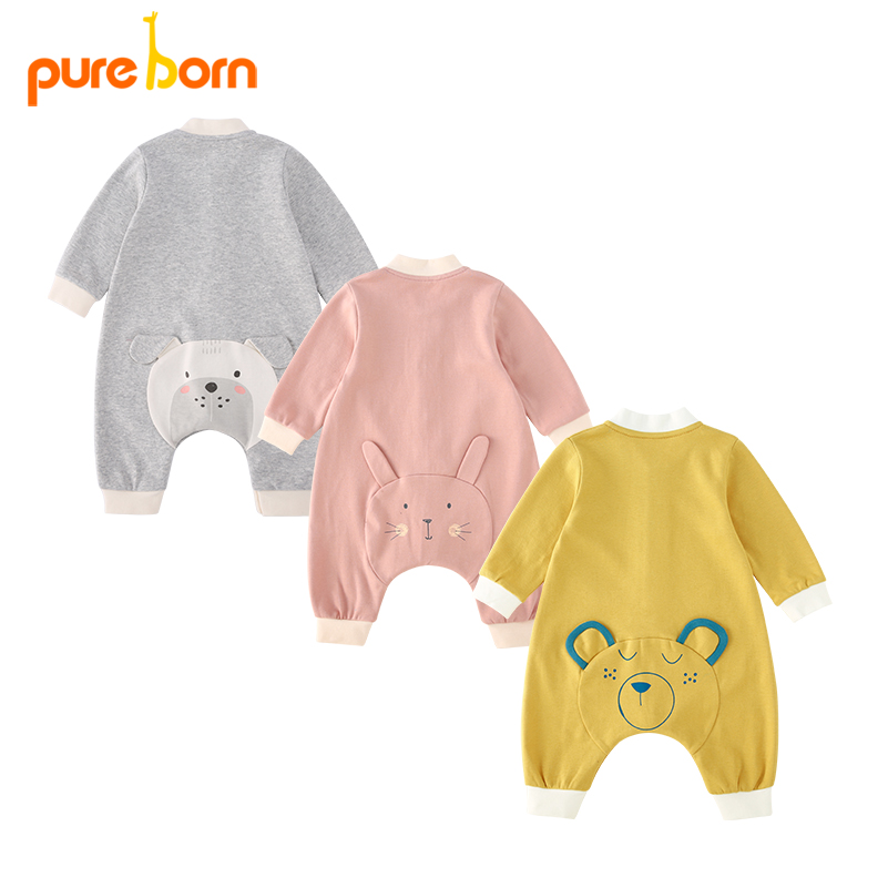 Pureborn Baby Romper Newborn Baby Clothes Clothing Jumpsuit for Girls Boys Toddlers Cotton One Piece Long Sleeve 2018 Brand New baby rompers cotton long sleeve 0 24m baby clothing for newborn baby captain clothes boys clothes ropa bebes jumpsuit custume