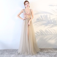 MarFoli Lace Floor Length Full Manual Sexy Star Dress Evening Dress Cocktail Dress Tulle Illusion Prom