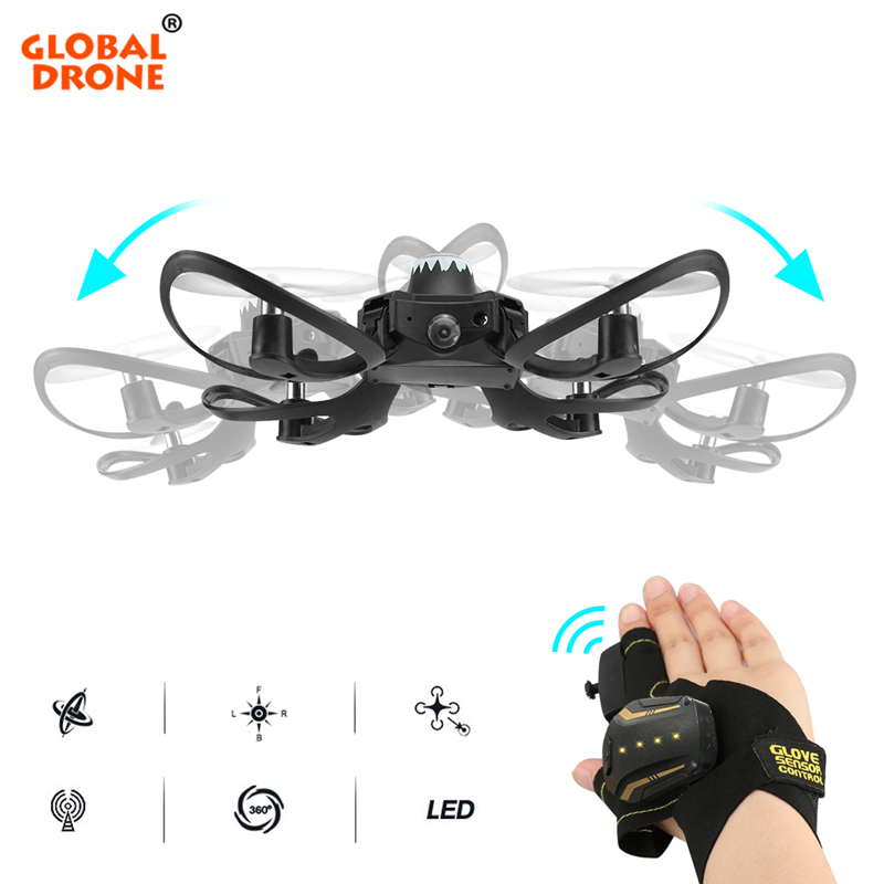 Global Drone Mini Drone 2.4G Glove Gesture Movement Fly Camera Drones Quadrocopter With Camera Foldable Selfie Dron
