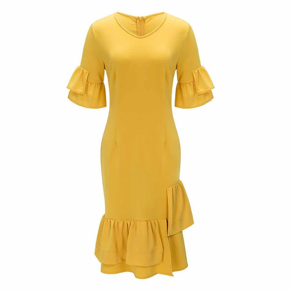 fc6d4245642a7 ... Hot Sale Autumn Yellow Simple Elegant Sexy Vintage Women Dress Bodycon  Falbala Zipper Pullover Girls Fashion ...