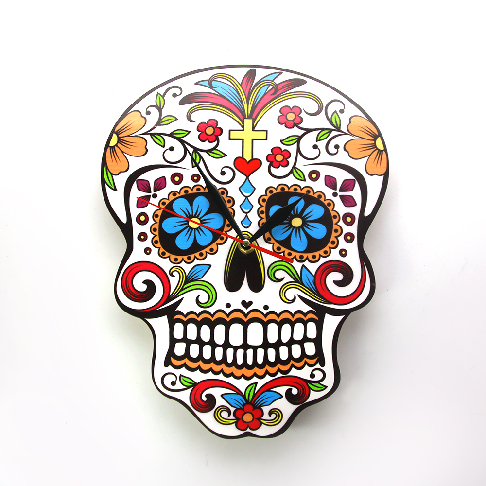 1Piece Mexican Candy Sugar Skull Wall Clock Modern Design Dia De Los Muertos Day of the Dead Wall Clock Floral Skull Wall Watch gold metal duvar saati