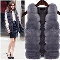 Two  color ur long section of large hooded thick vest vest imitation fox fur water mink coat coat fashion wild warm jacket