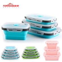 Силиконовый складной Ланч-бокс, контейнер для хранения еды, Bento BPA Free, Microwavable, портативный, для пикника, кемпинга, прямоугольная, открытая коробка