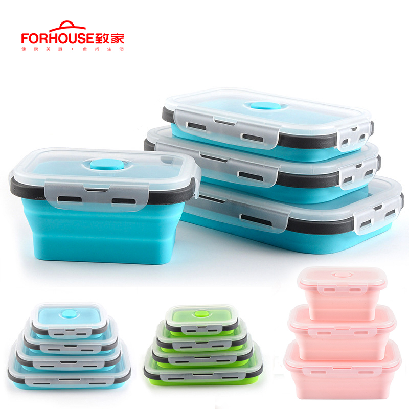 Silicone Collapsible Lunch Box Food Storage Container Bento BPA Free Microwavable Portable Picnic Camping Rectangle Outdoor Box image