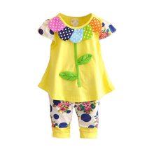 Г. Комплект одежды для маленьких девочек, летние футболки с цветочным рисунком и бантом топы и штаны, леггинсы милая детская одежда из 2 предметов комплект для девочек