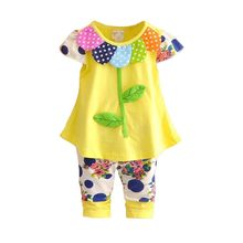 2020 Kids Baby Girl Clothing Set Bowknot Summer Floral T-shi