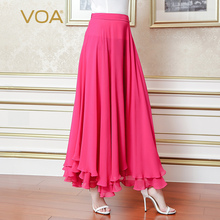 VOA 2017 Fall Fashion Solid Rose Red Maxi Long Skirt CLA00303
