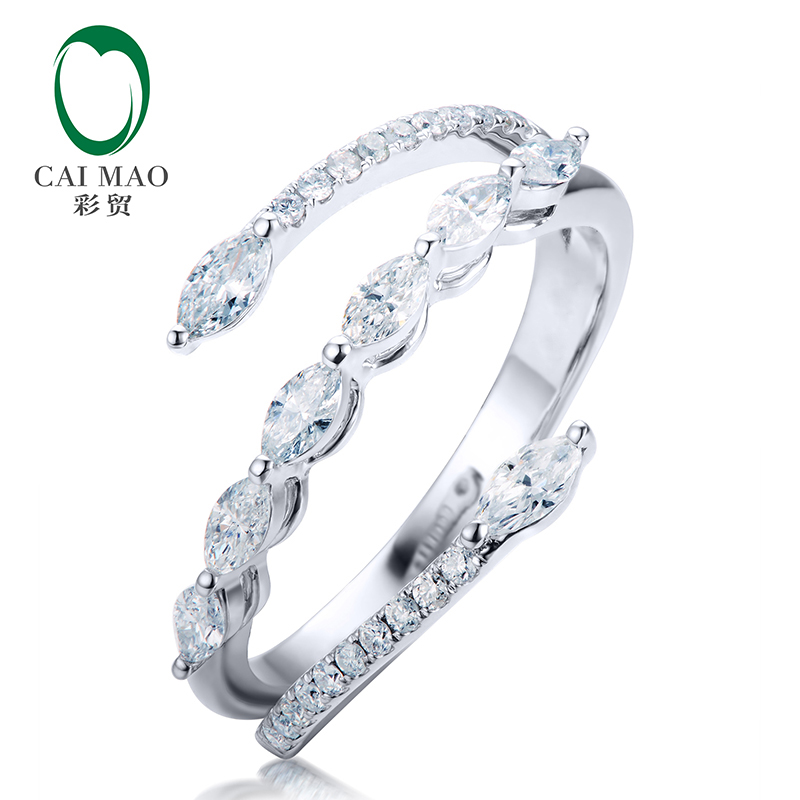 CaiMao 14kt White Gold Marquise Cut 0.46ctw Natural Diamond Engagement Ring for Women Jewelry caimao exquisite jewelry natural cabochon cut emerald baguette cut diamond 14kt white gold drop earrings