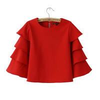 Women Ladies Batwing Loose Blouse 2014 Summer Short Clothe Chiffon Three Quater Long Top Sleeve Buttertly