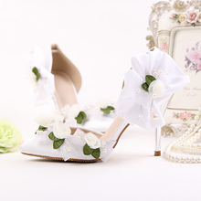 New arrival Two-piece 9cm high shoes Bride Party/Wedding shoes white Flower fashion shoes women pointed toe Pumps