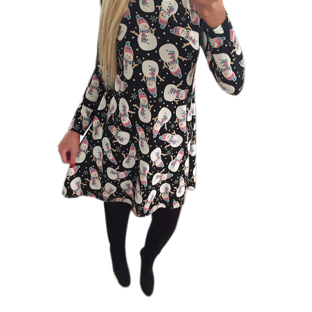 Christmas dress casual - 2017 New Fashion Winter Women Christmas Dress Santa Snowman Print O Neck Long Sleeve A Line Casual Party Dress Vestido De Festa