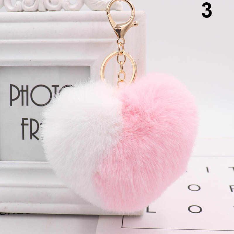 Amor coração pompom bola chaveiros para mulheres bolsa charme pingente carro chaveiro @ m23