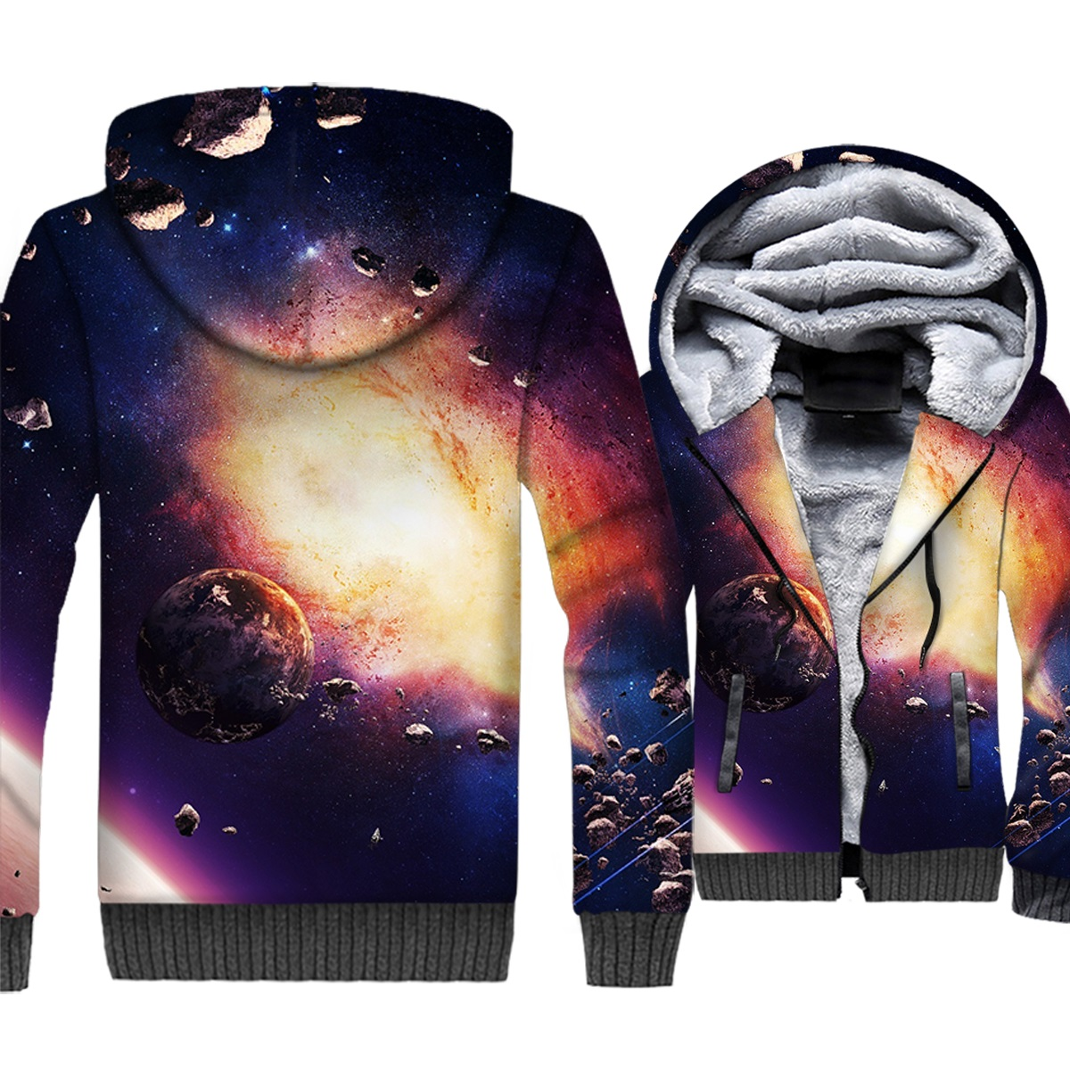 Space Galaxy Jackets Men 3D Planet Hoodie Men Colorful Sweatshirt Winter Thick Fleece Paisley Stars Nebula Coat Brand Clothing
