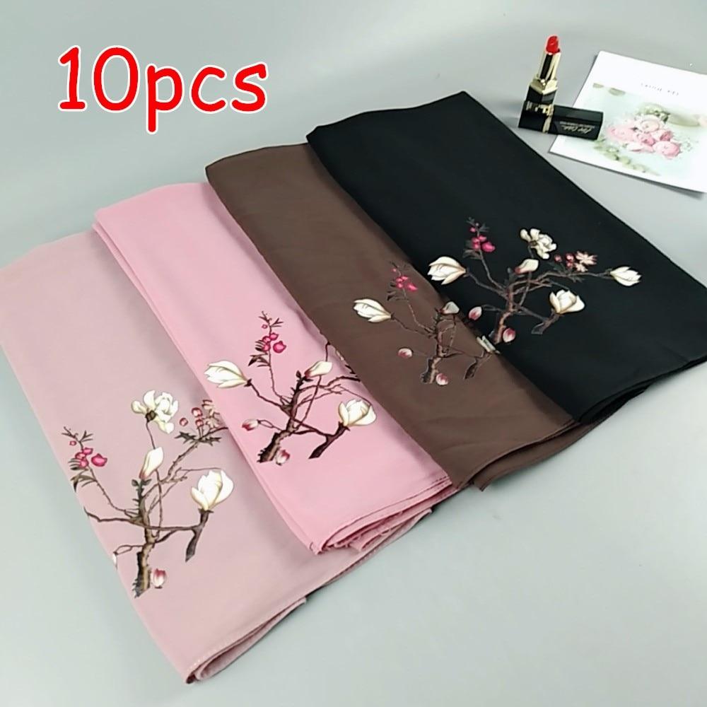 P1 High quality flower printed bubble chiffon hijab wrap shawl women scarf scarves 180 75cm