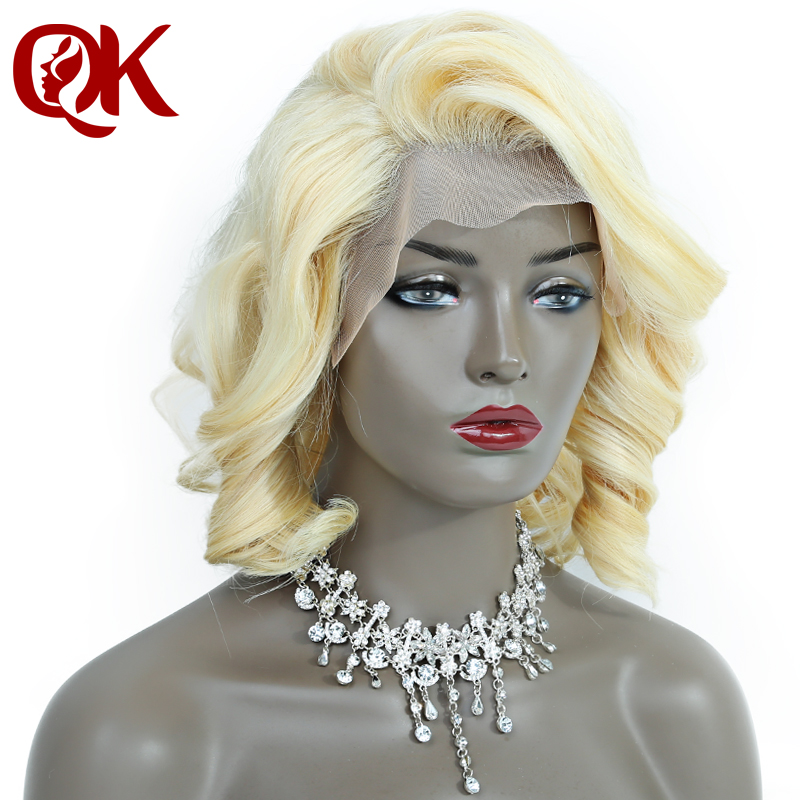 QueenKing hair Lace Front Wig 180% Platinum Blonde 613 Bob Wig Wavy Free Part Preplucked Brazilian Human Remy Hair