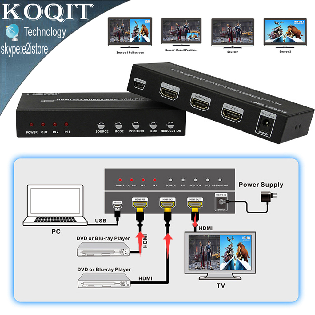 HDS-821P HDMI 2X1 Seamless Switch Picture Division PIP POP Multi Viewer 2 Port Converter 4 Mode HDMI All Show One HDTV Display