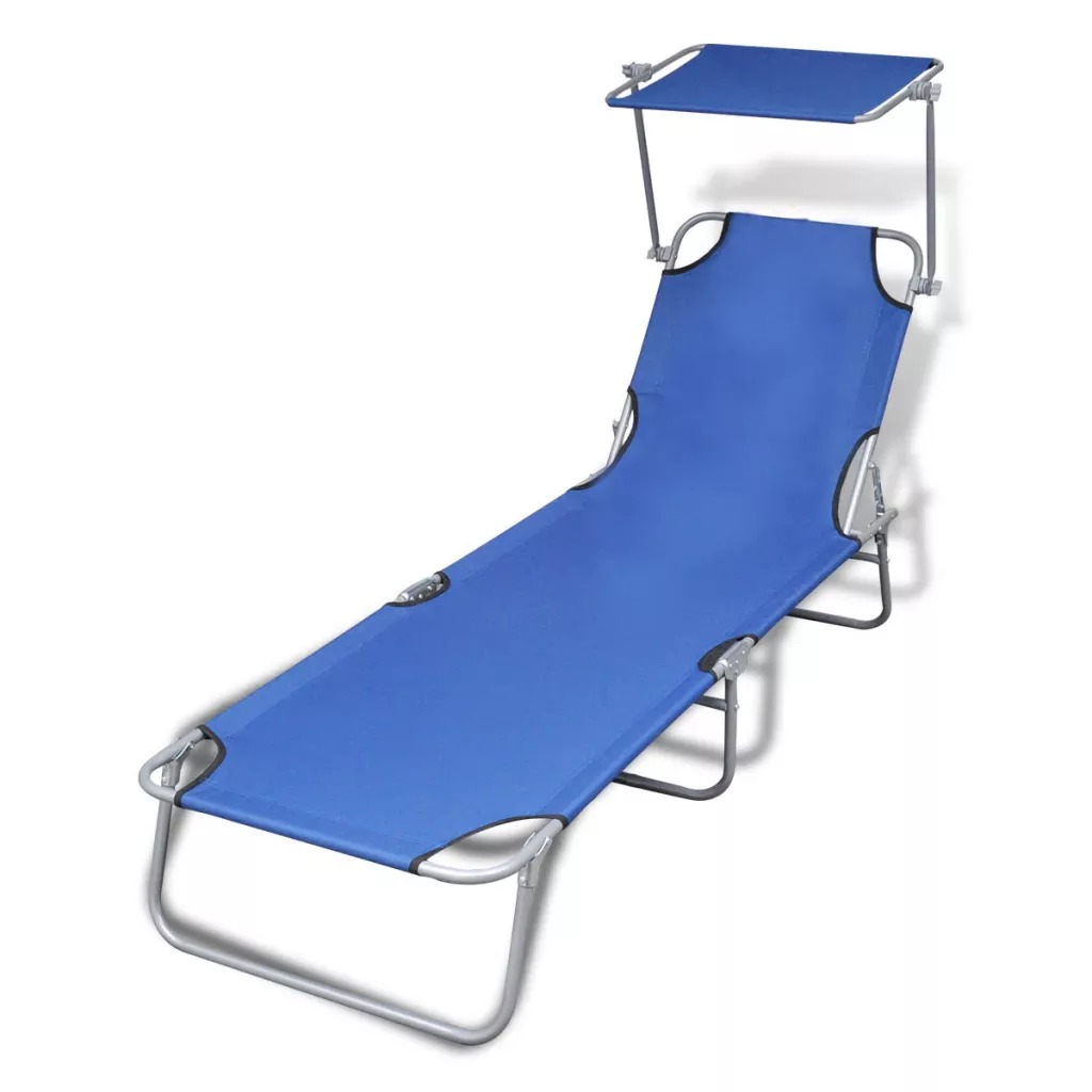 VidaXL Foldable Chaise Lounge With Adjustable Awning Steel Blue And Black Fabric Outdoor Lounge Chair
