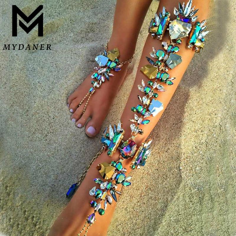 1 Pcs Fashion Crystal Ankle Bracelet for Women Barefoot Sandals Sexy Pie Leg Chain Female Boho