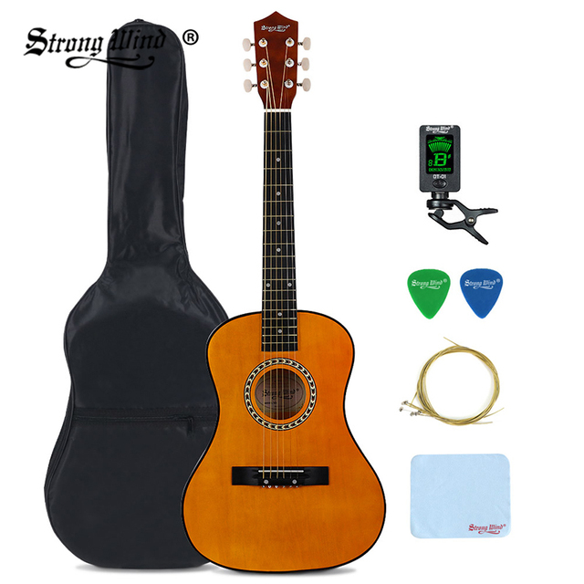 915db0c9ba Strong Wind 34 Inch Acoustic Guitar Folk Guitar 6 Steel Strings Full  Accessories For Beginner Student