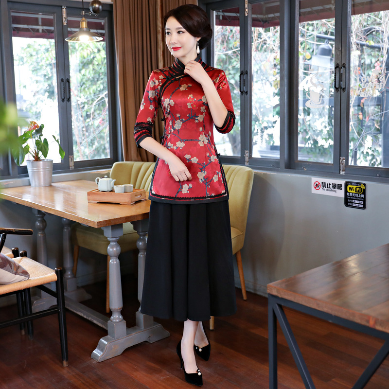 Printemps femmes Blouse jupe ensembles traditionnel chinois 2 pc manches courtes chemise costume col Mandarin Cheongsam robe taille S-XXXL