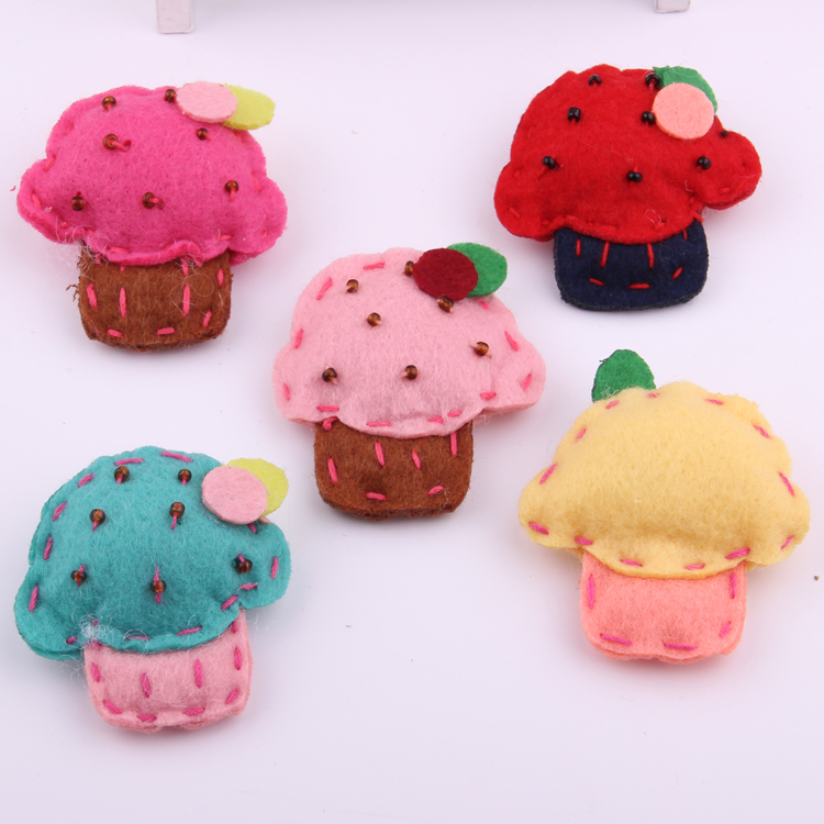 Baby Hairpin Ornament Cute Woolen Fabrics Hand Sewing Measle Ice Cream Type Hair Barrettes For Girls Headwear Hair Accessories in Hair Accessories from Mother Kids