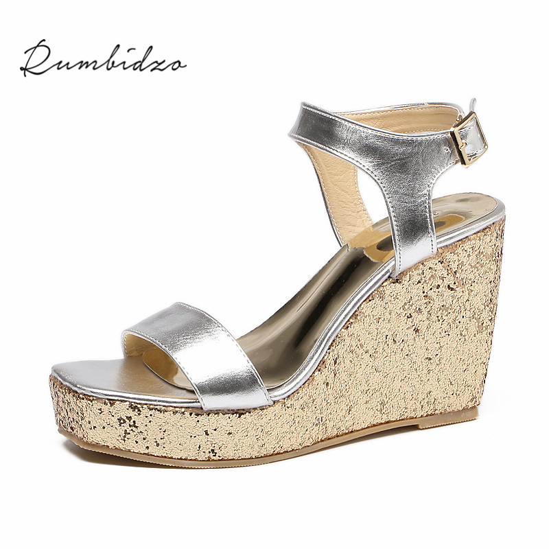 Rumbidzo Women Sandals 2018 Summer New Wedge Sandals Open Toe Ankle Strap Buckle Sandalias High Heels Zapatos 2018 new women sandals summer classic ankle buckle strap chunky sequins heels casual open toe black pink khaki zapatos mujer