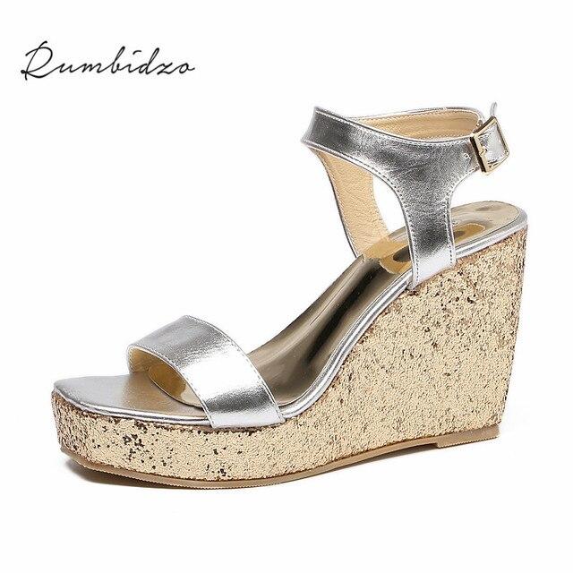 711e3749640d5 Rumbidzo Women Sandals 2018 Summer New Wedge Sandals Open Toe Ankle Strap  Buckle Sandalias High Heels Zapatos