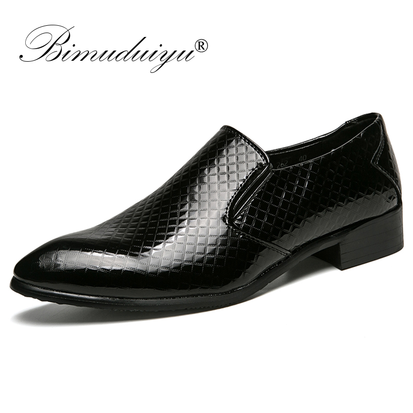 BIMUDUIYU Brand Italian Business Men Slip-On Leather Shoes Elegant Formal Dress Flats Footwear Pointed Toe Oxfords Office Shoes pointed toe men dress oxfords shoes italian leather male wedding party formal shoes black slip on fashion design business shoes