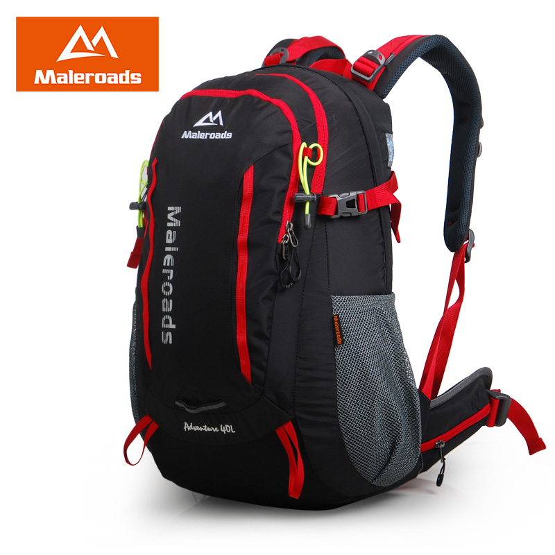 Maleroads 40L waterproof outdoor hiking backpack camping mochila travel rucksack mountain climbing bag pack for women men blog flashlight outdoor 5led pocket strong waterproof 8 hours to illuminate mountain climbing camping p004