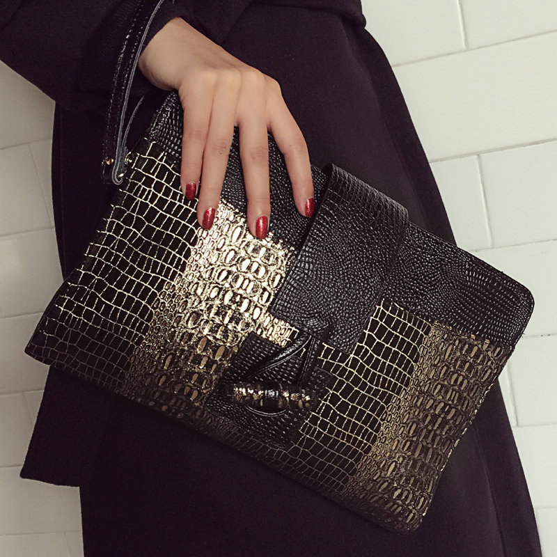ФОТО Genuine Leather Women Clutch Bag\Handbags 2017 New Fashion Crocodile Envelope Shoulder Bag\Messenger Bag Evening Bag~16B56
