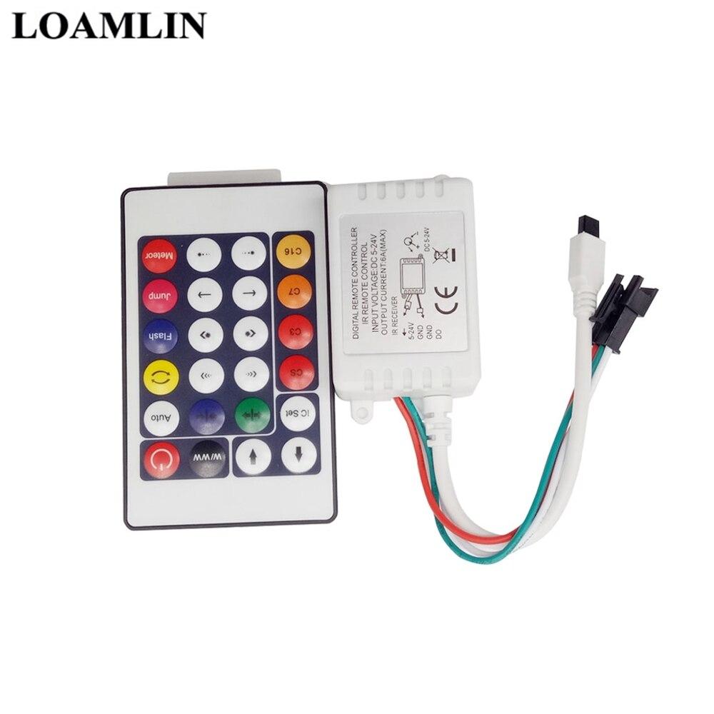 24 Key DC12V IR Remote Controller For WS2811 Led Pixel Strip 200 Change Max 1000 Pixels LED Controller