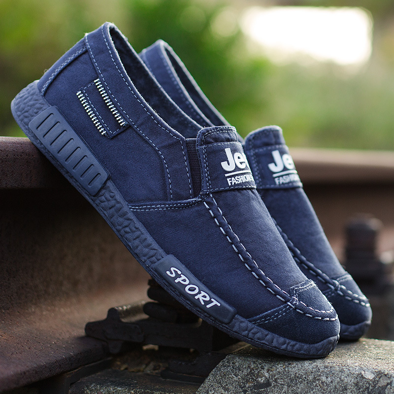 Sneakers Breathable Walking-Shoes Homme Denim Slip-On Men Fashion Summer Spring Chaussure