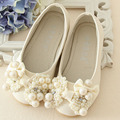 Pearls Flower Girls Wedding Shoes 2017 New Style Luxury Kids Ballet Shoes For Party Children Girl Flats Slip On Princess Shoes