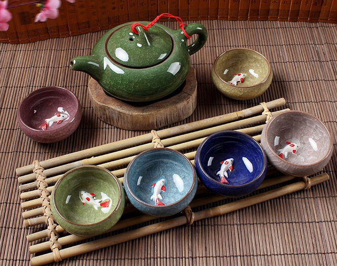 Kung Fu Tea Set (Seven Piece), Keramiska Tea Set, TeaCup, ChineseTravel Tea Set, Drinkware Kaffe & Te Sets, Binglie China Wholesale