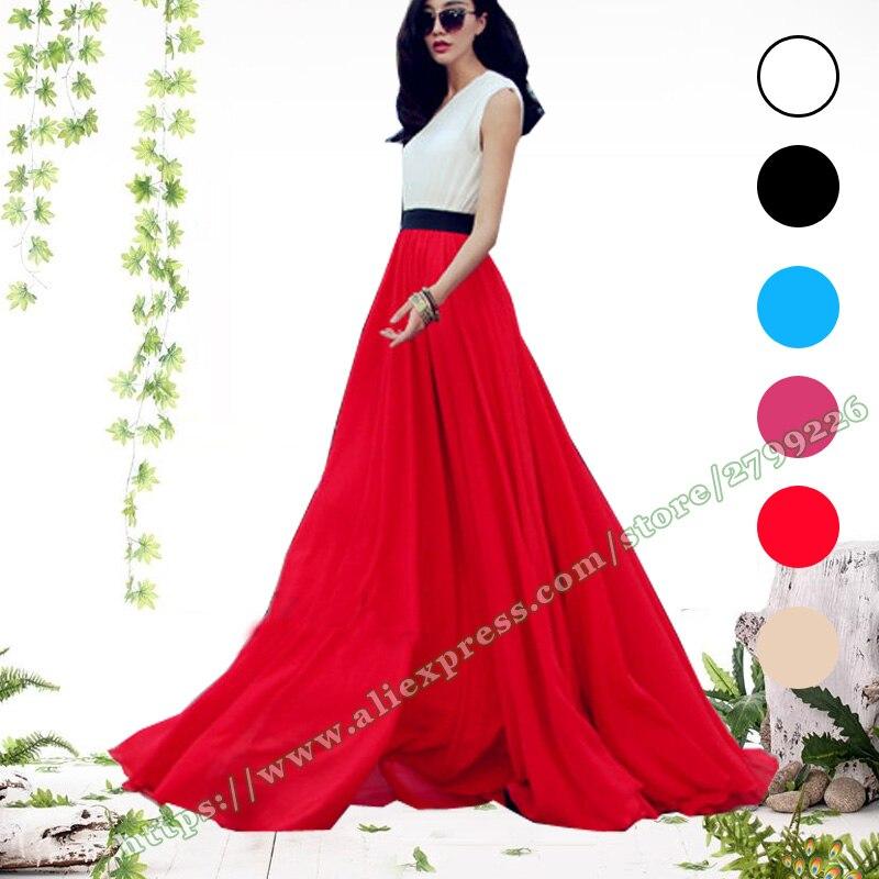 2019 grande taille 5XL 6XL été bohême mode vert noir rouge mousseline de soie plage Maxi femme jupe taille haute jupes longues femmes