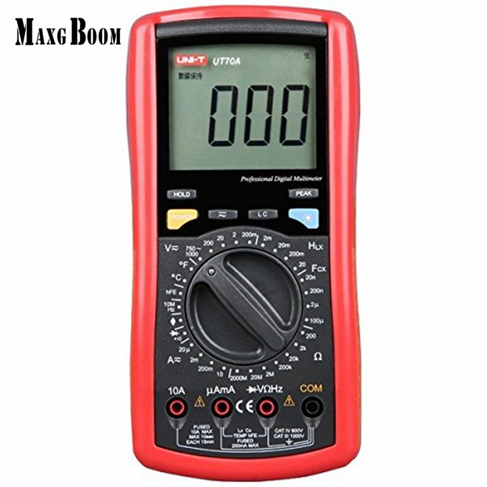 MaxgBoon UNI-T UT70A LCD Digital Multimeter Volt Amp Ohm Temp Capacitance Inductance Free Shipping 1pcs uni t ut70a lcd digital multimeter volt amp ohm temp capacitance inductance wholesale register shipping