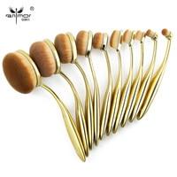 Oval Makeup Brushes Professional 10pcs Oval Brush Set Toothbrush Make Up Brushes With Brush Holder