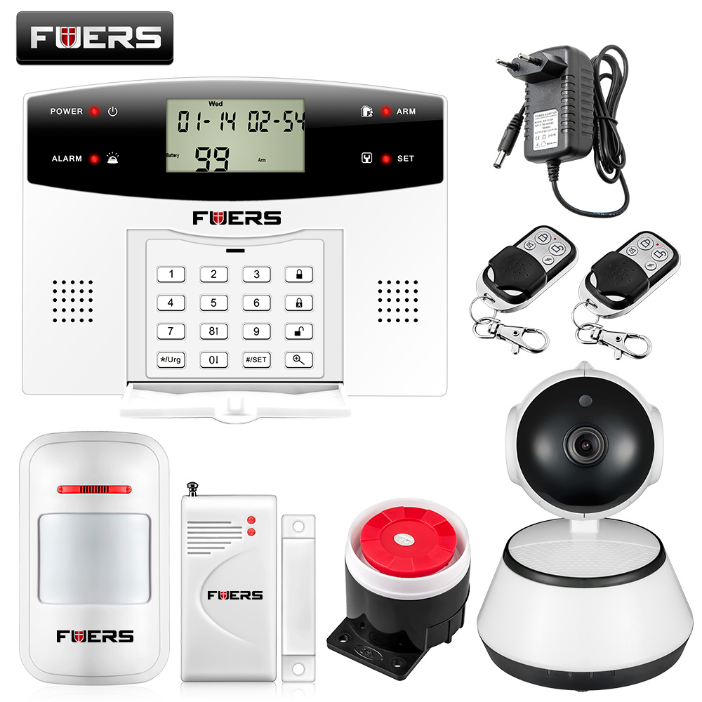 Fuers G2 Wireless Alarm System with 720P WiFi Camera PSTN GSM Dual network 99 Wireless Zones Voice prompt Burglar Alarm System 2 receivers 60 buzzers wireless restaurant buzzer caller table call calling button waiter pager system