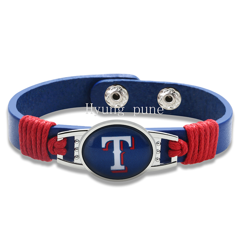 6pcs/lot! Texas Rangers Genuine Leather Adjustable Bracelet Wristband Cuff 12mm Blue Leather Snap Button Charm Jewelry