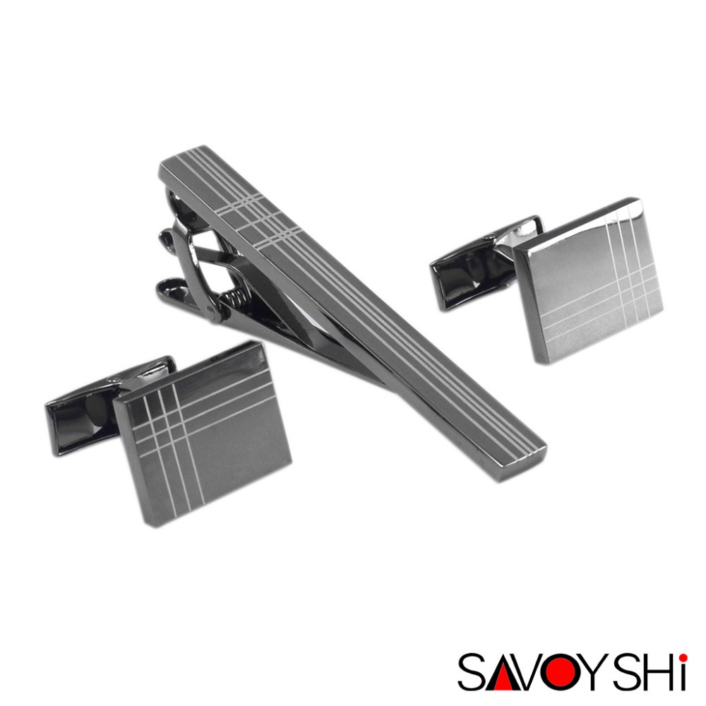 SAVOYSHI Classic Square Black Laser Stripe Bussiness Mens Manset Klip Tie Set High Quality Necktie Pin Tie Bar Clip Clasp